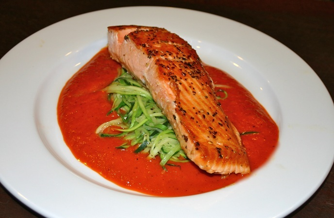 Grilled Salmon And Zucchini With Red Pepper Sauce
